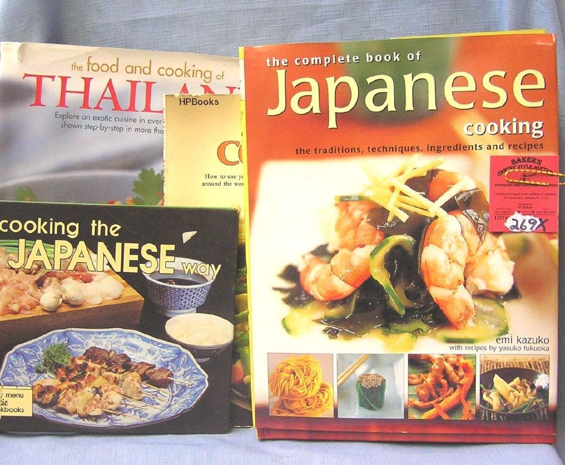 Group of Asian cook books