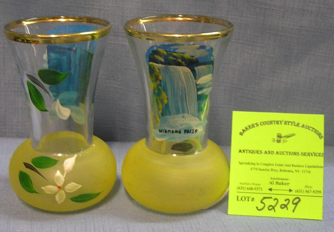 Pair of great early Niagara Falls souvenir vases