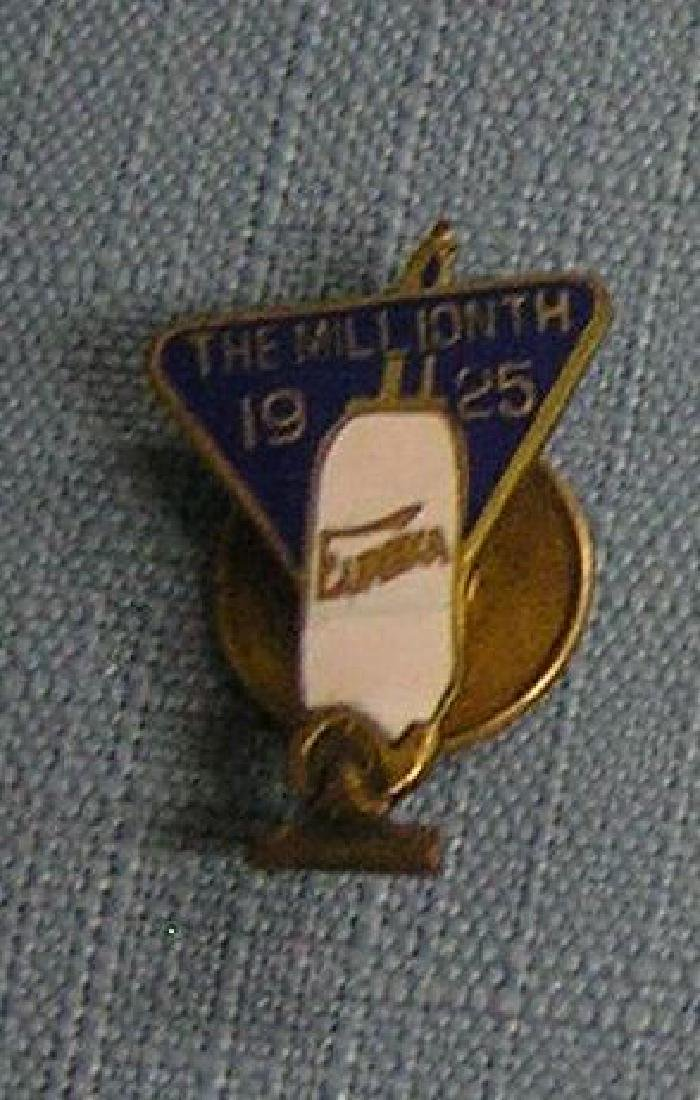 Early brass and enameled eureka salesman award pin