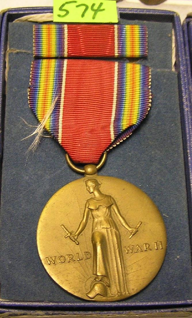 Vintage WWII victory medal with original box