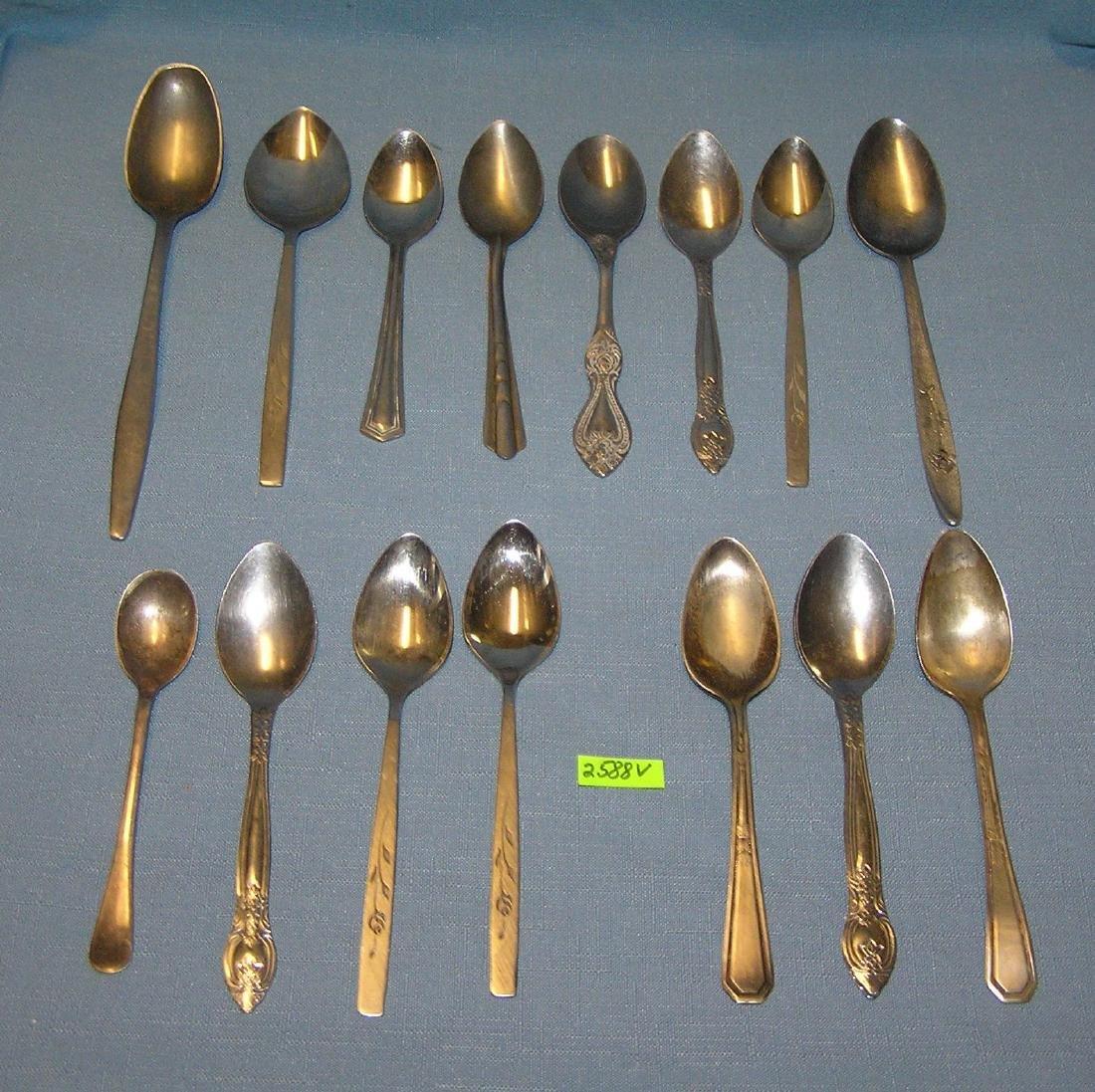 Group of vintage flatware spoons