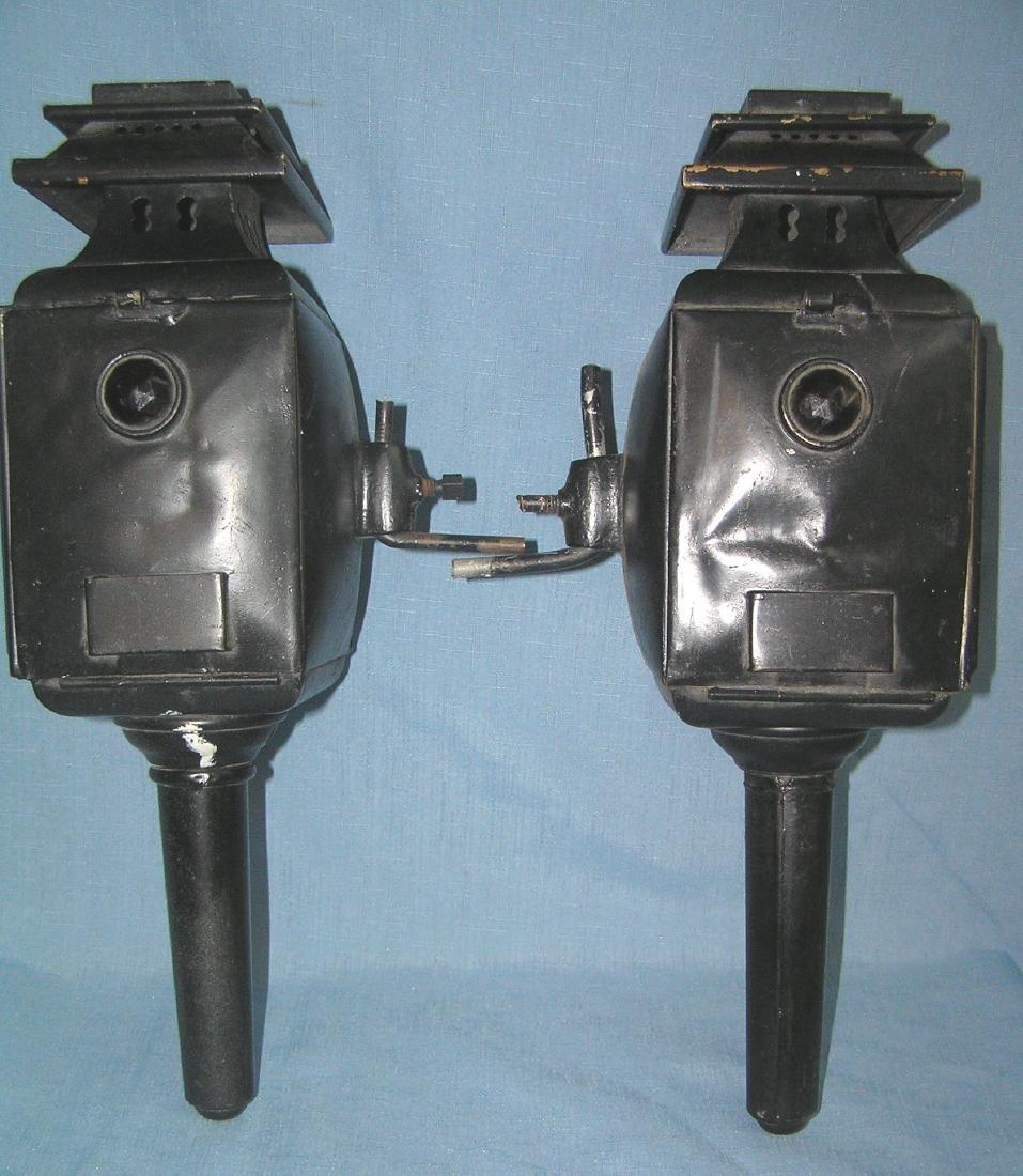 Pair of antique carraige lamps - 2