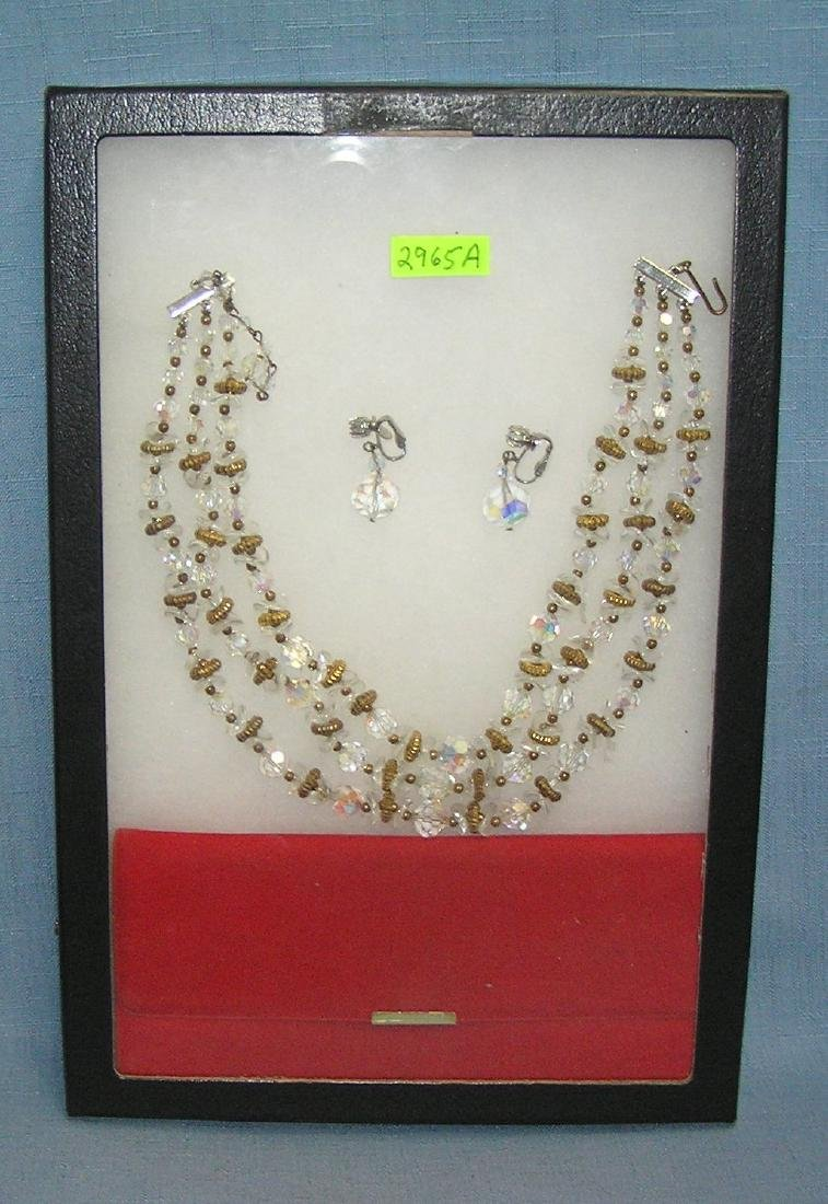 1950'S glass beaded necklace and earring set