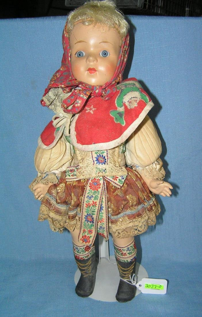 Antique fully dressed composition German doll