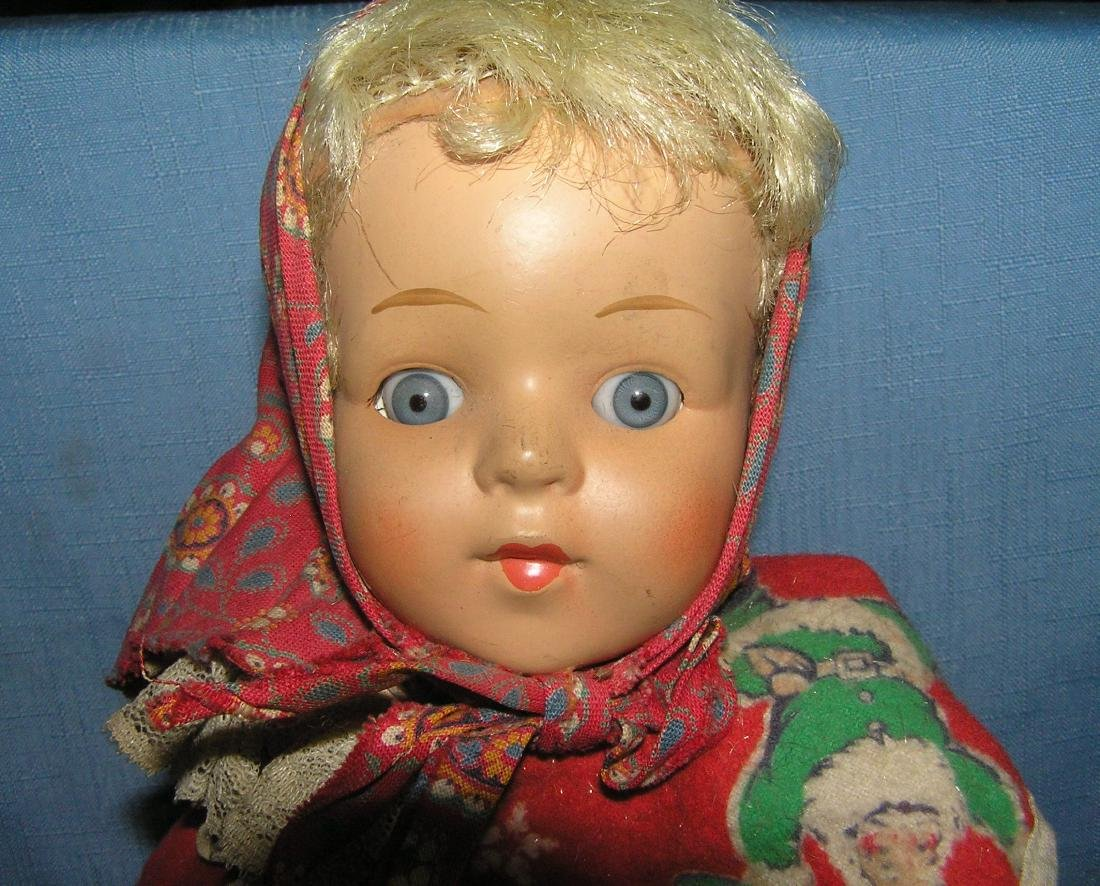 Antique fully dressed composition German doll - 2
