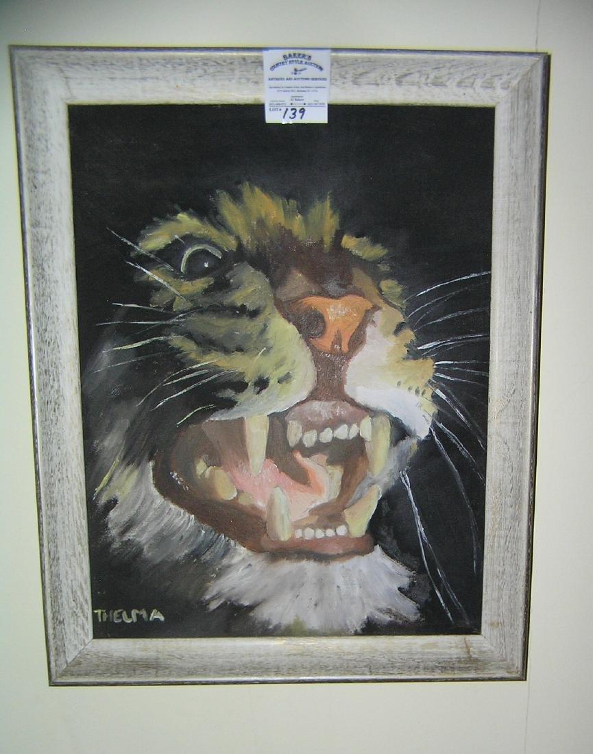 Artist signed oil on board painting framed