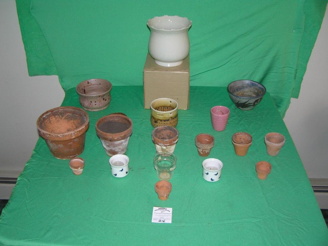 Group of early planters and flower pots