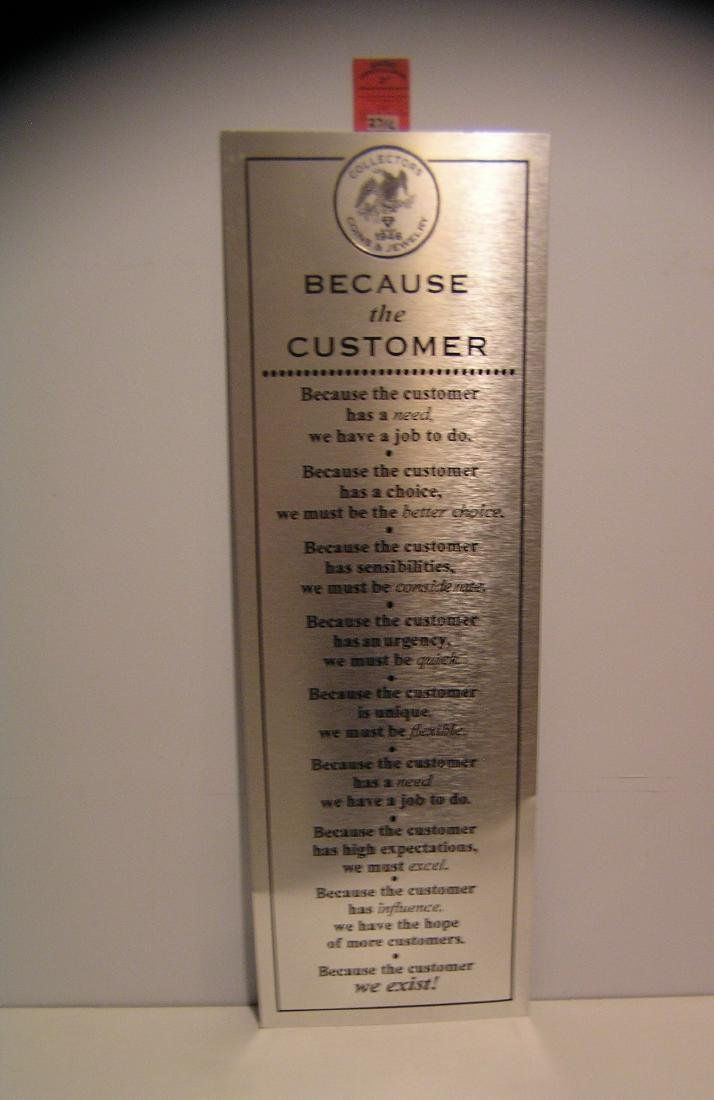 All metal customer relations advertising sign