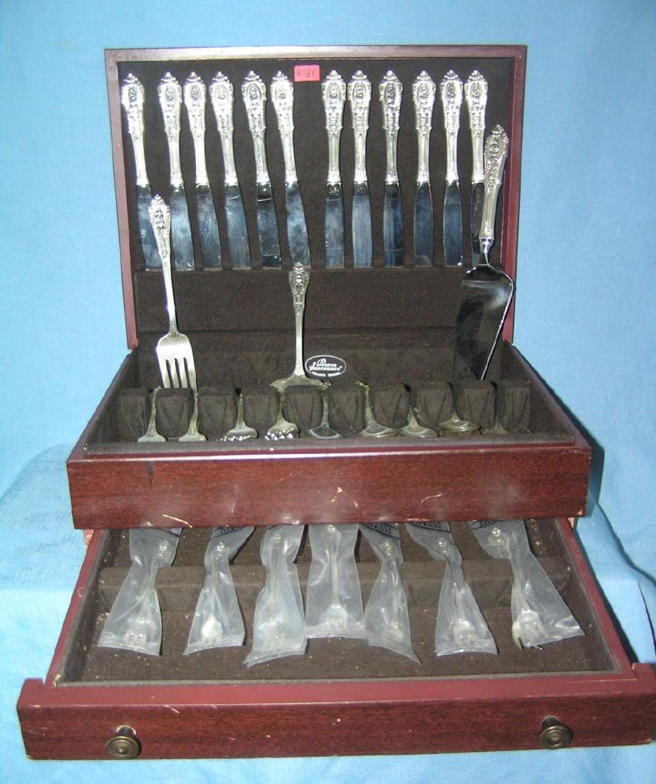 Wallace 76 piece sterling silver flatware set