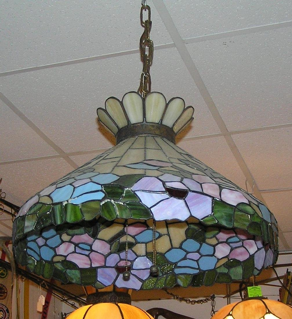 Antique leaded stained glass chandelier