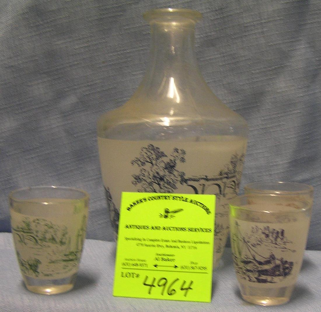 Great early horse drawn decorated decanter set