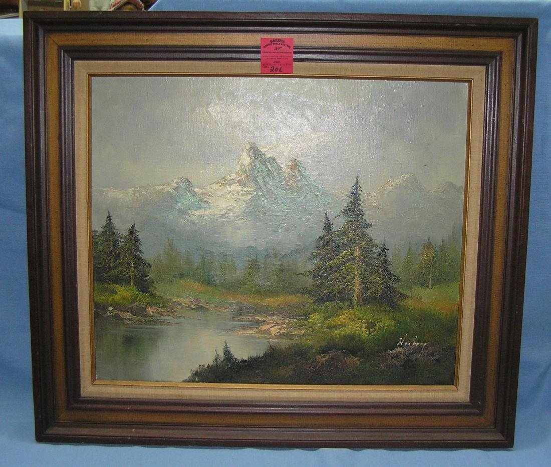 Artist signed oil on canvas landscape painting