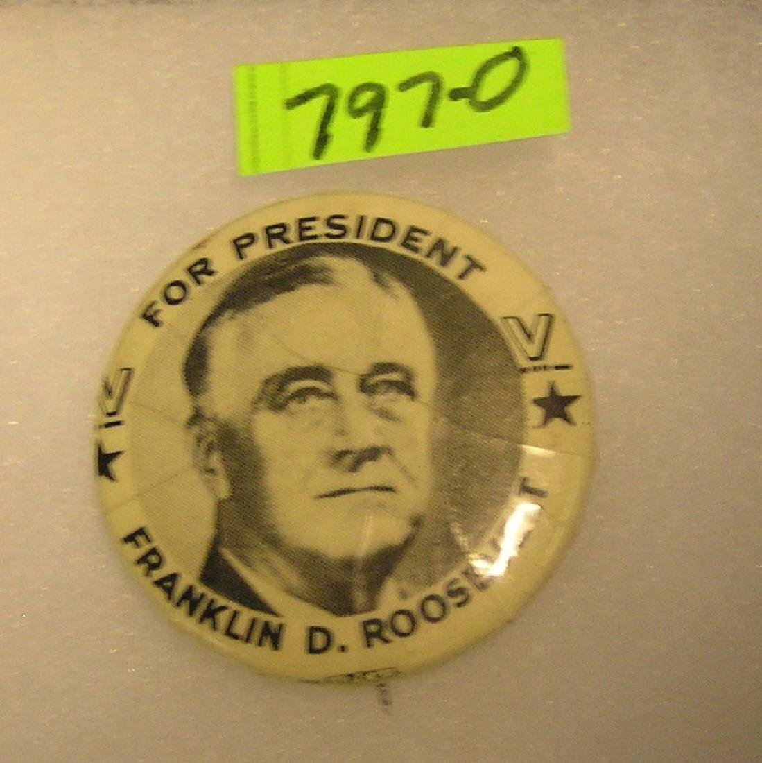 FDR presidential campaign pictorial button