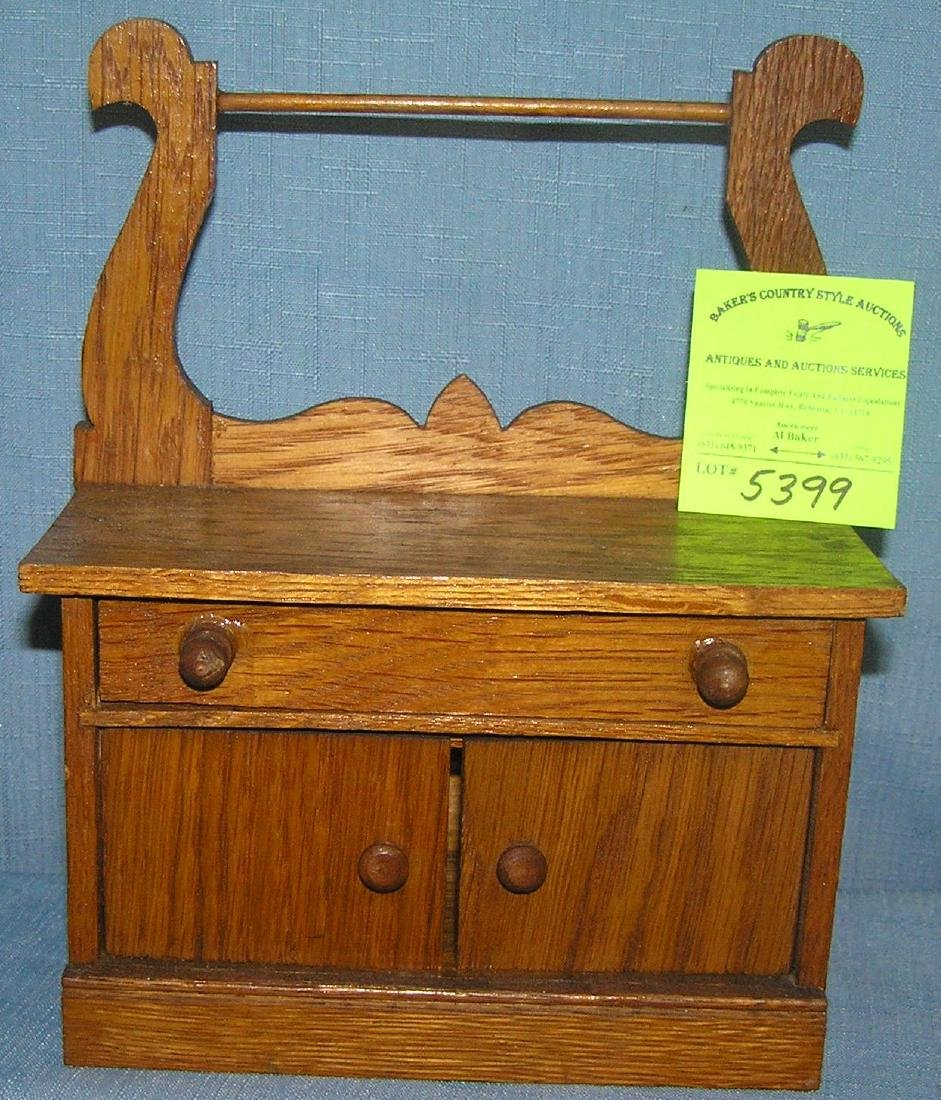Antique oak miniature wash stand salesman sample