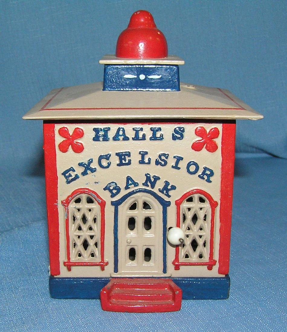 Early Hall's Excelsior cast iron mechanical bank