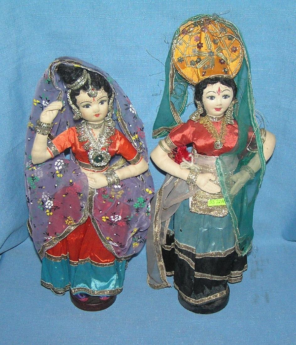 Pair of antique cloth hand made dolls