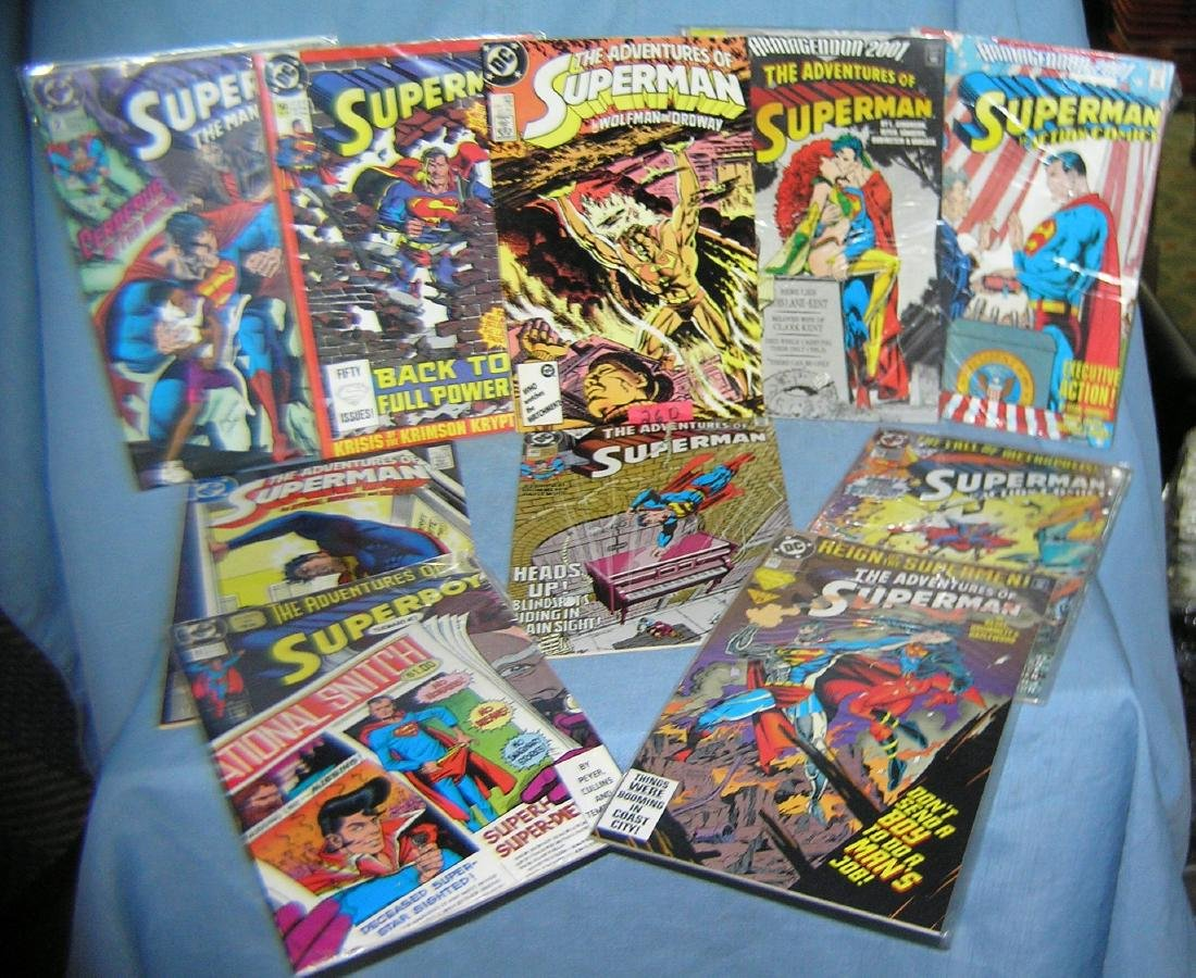 Collection of vintage Superman comic books