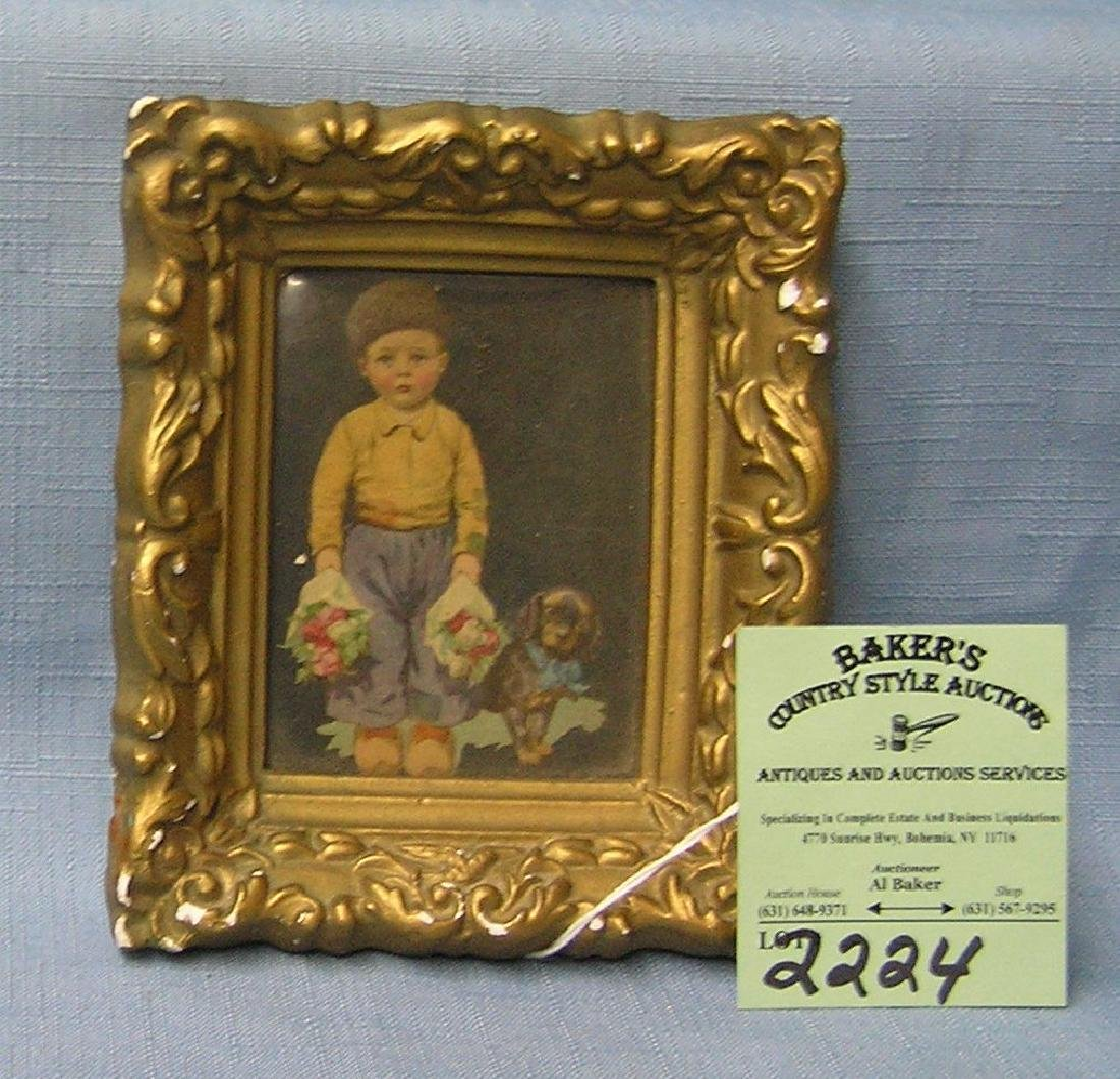 Early miniature Dutch print in gold frame