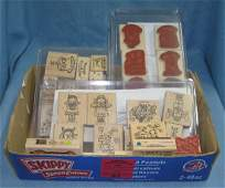 Box full of craft and decorative rubber stamps