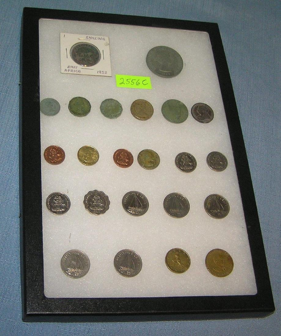 Group of world coins and tokens