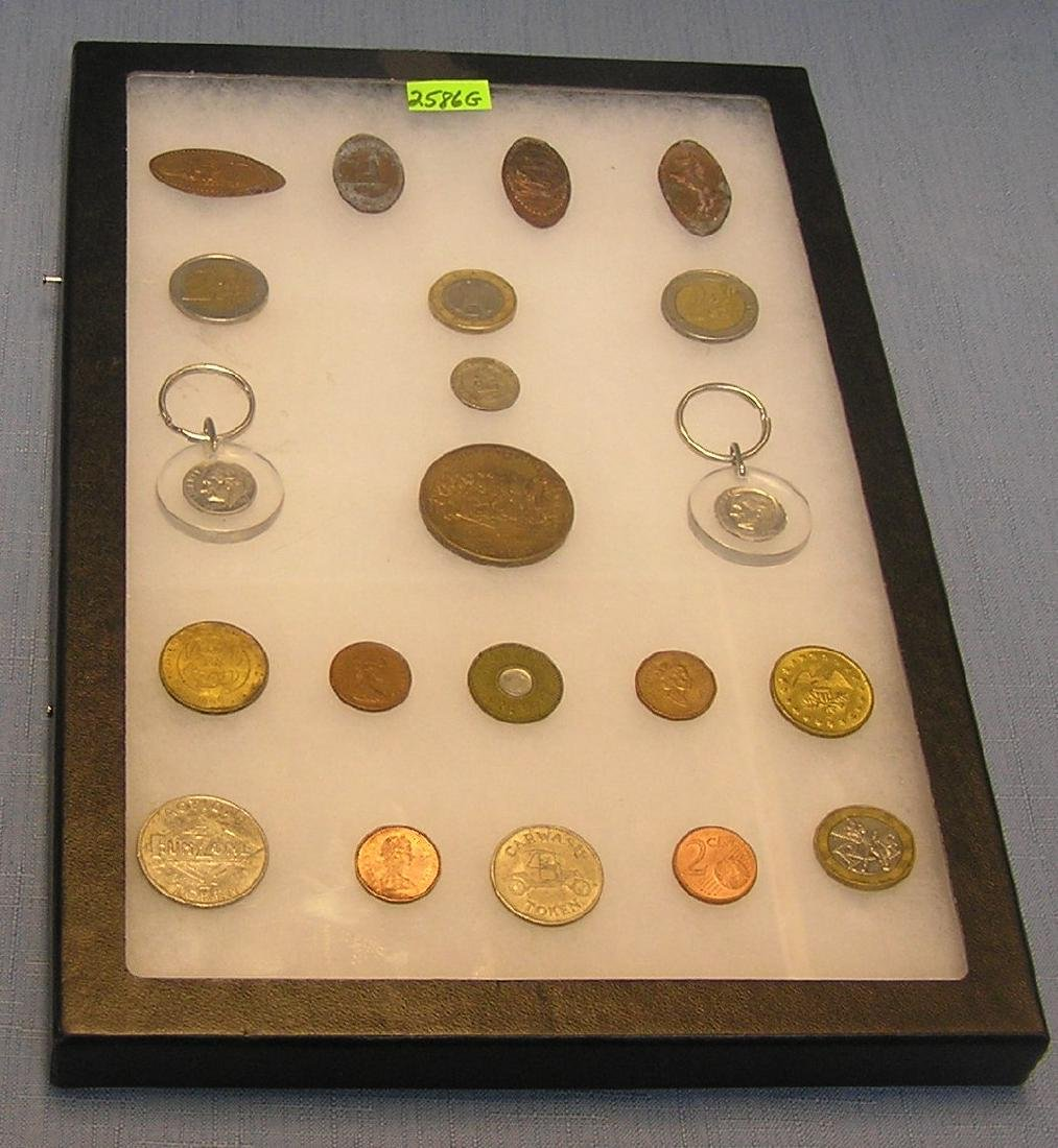 Souvenir stamped pennies, world coins & more