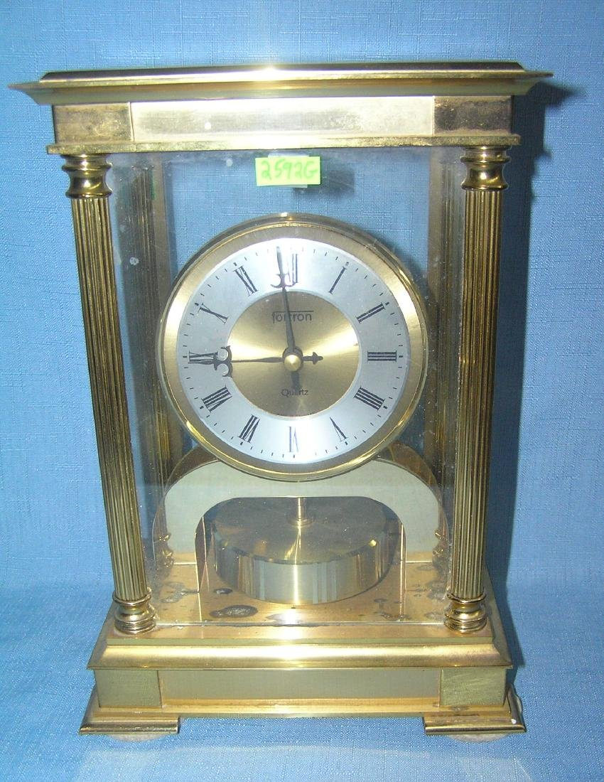 Fortron quartz solid brass and crystal shelf clock
