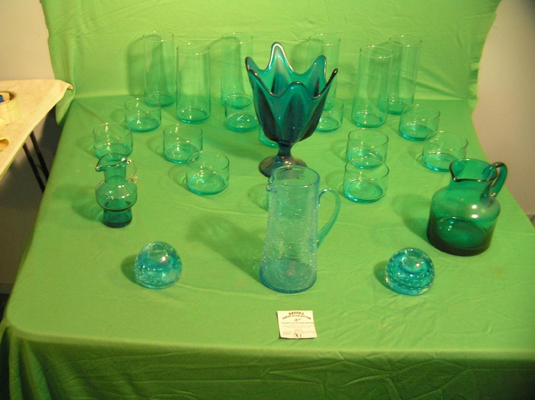 Collection of light and dark blue art glass