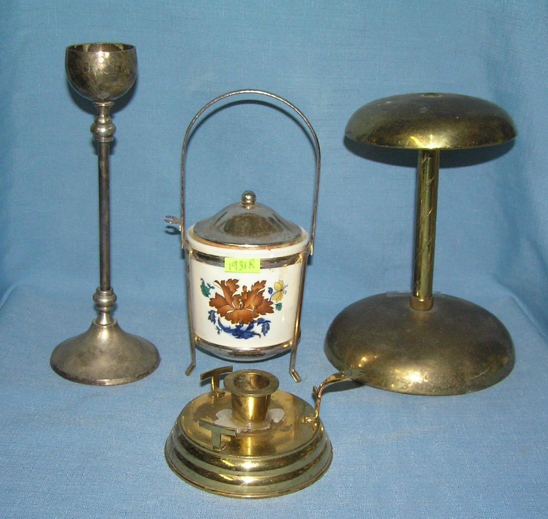 Group of 4 brass and silver plated items