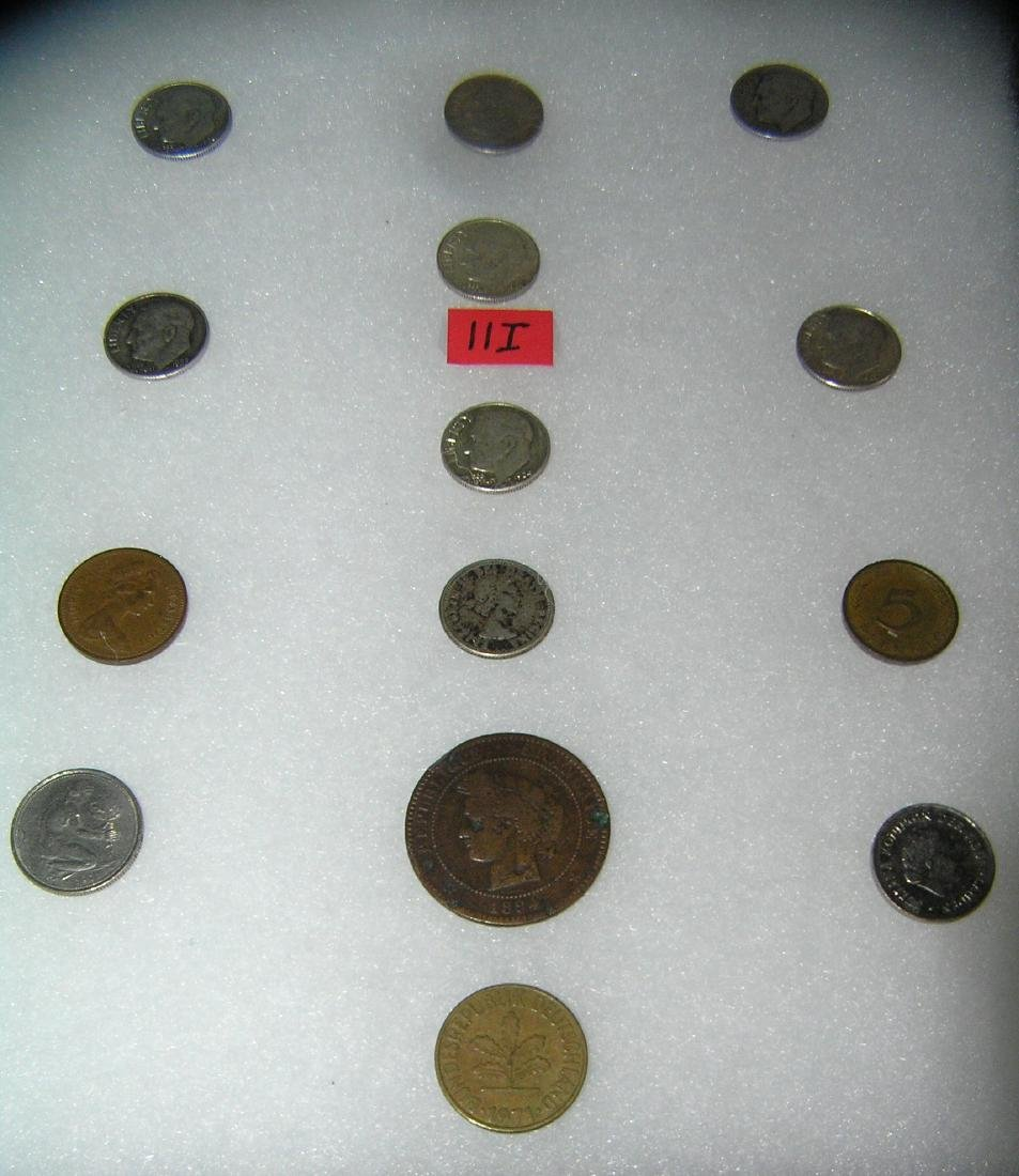 Group of US and world coins