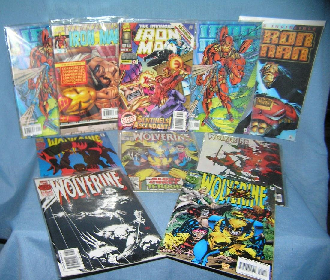 Vintage comic books includes Iron Man and Wolverine