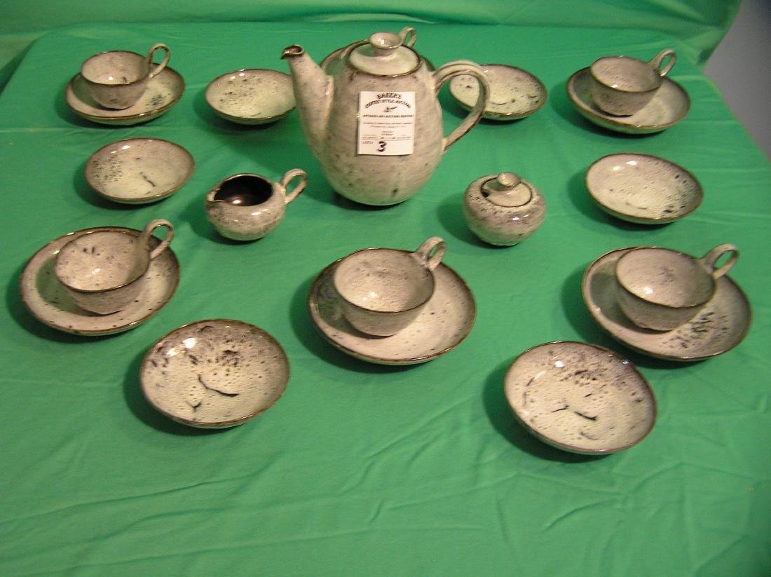 Antique art pottery 21 piece coffee, tea or chocolate