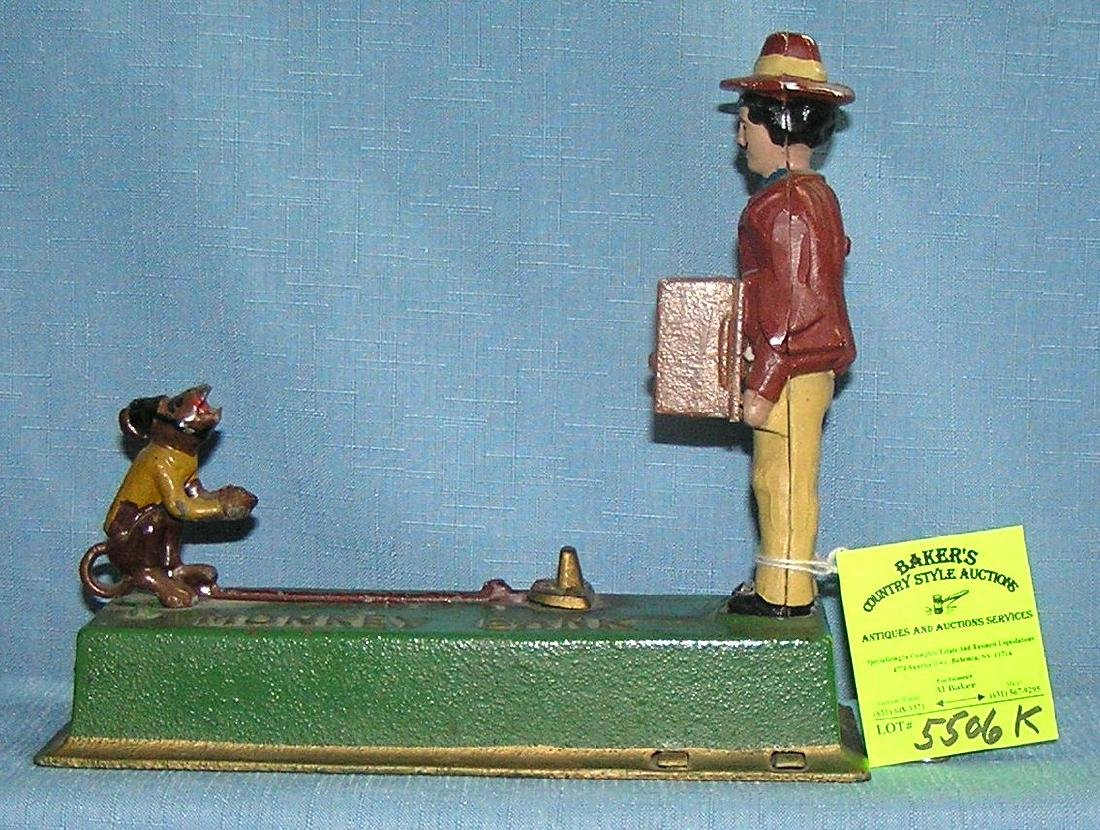Vintage all hand painted cast iron Monkey bank