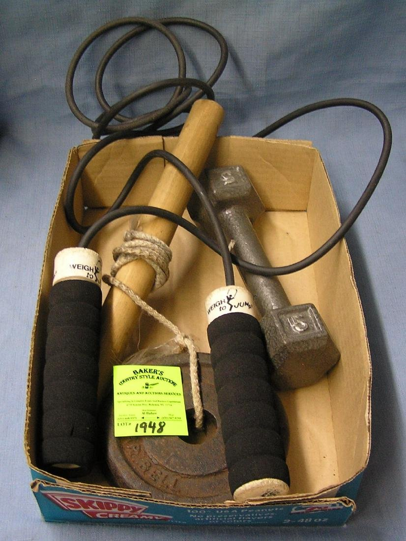 Box of vintage sports equipment