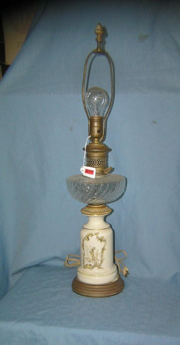Antique crystal, porcelain and brass table lamp