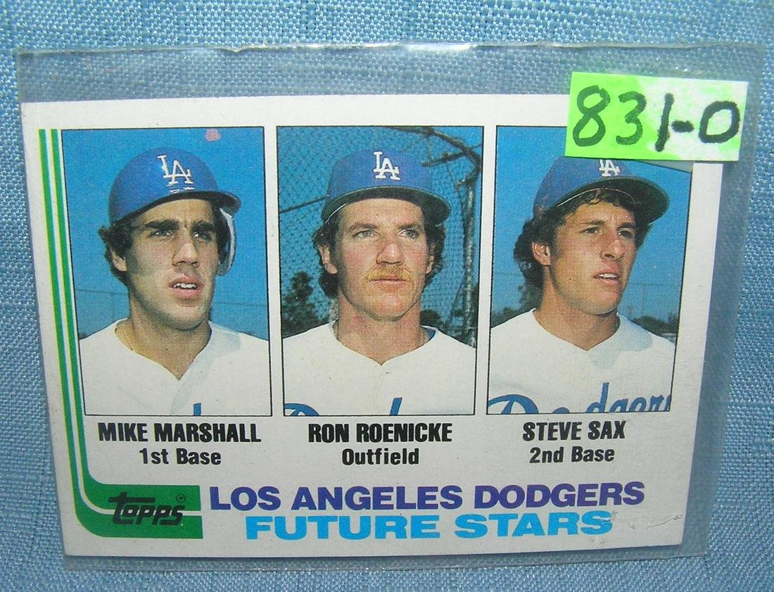 Mike Marshall Steve Sax Ron Roenicke Baseball Card