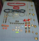 Large group of vintage costume jewelry