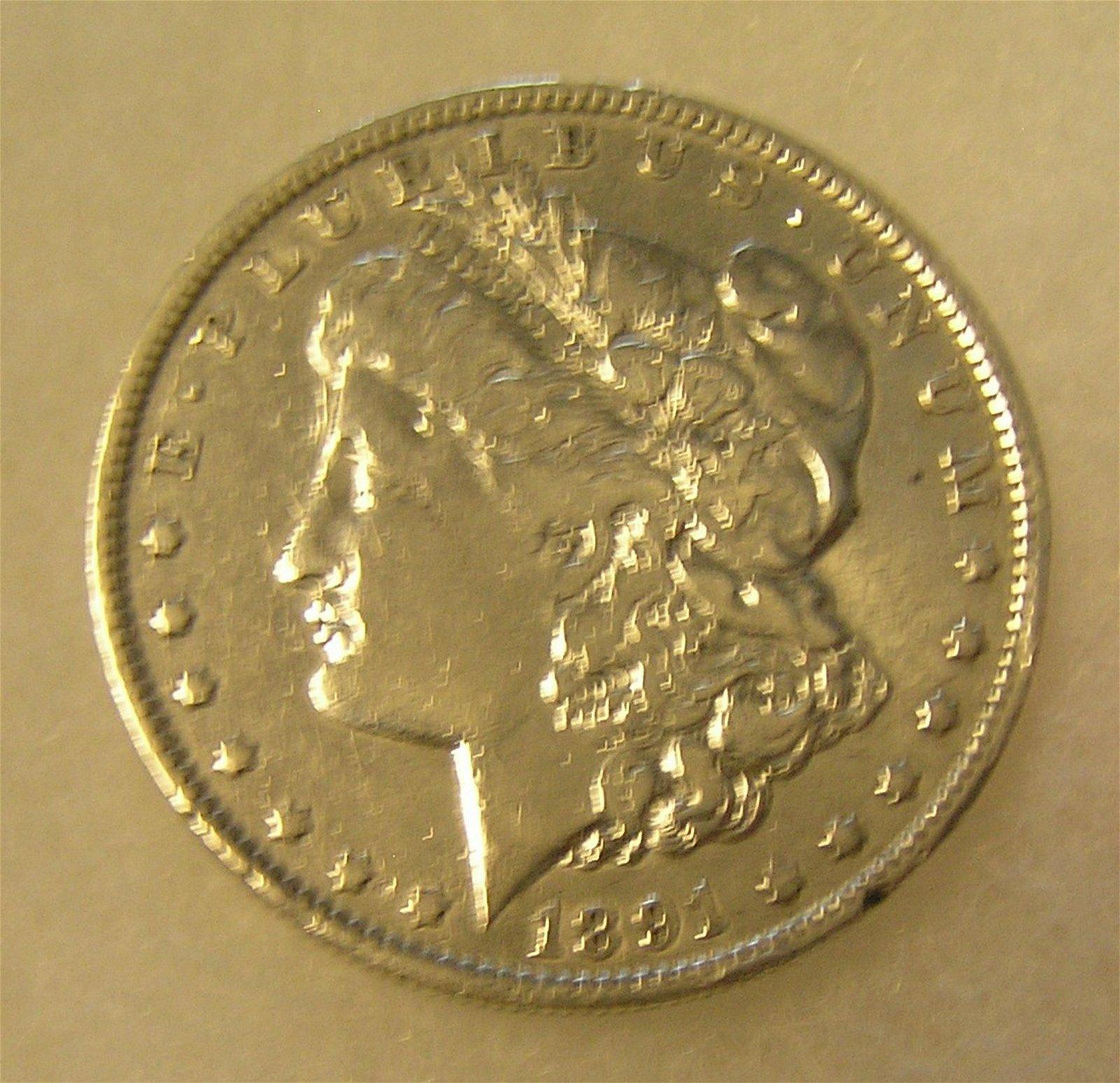 1891-O Morgan silver dollar in fine condition