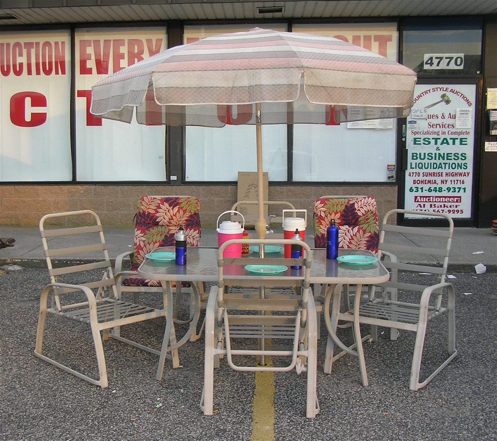 Outdoor table, chair and umbrella entertainment set