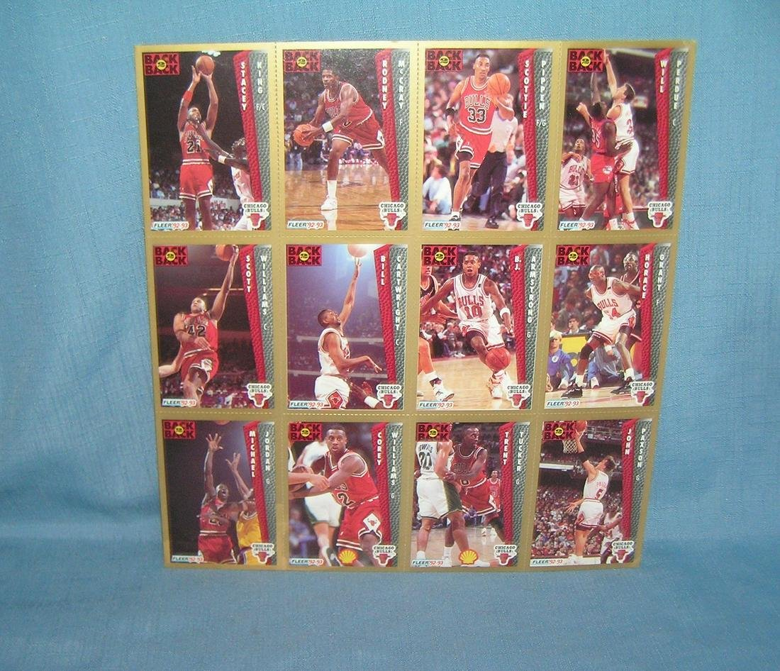 Vintage Chicago Bulls basketball cards uncut sheet