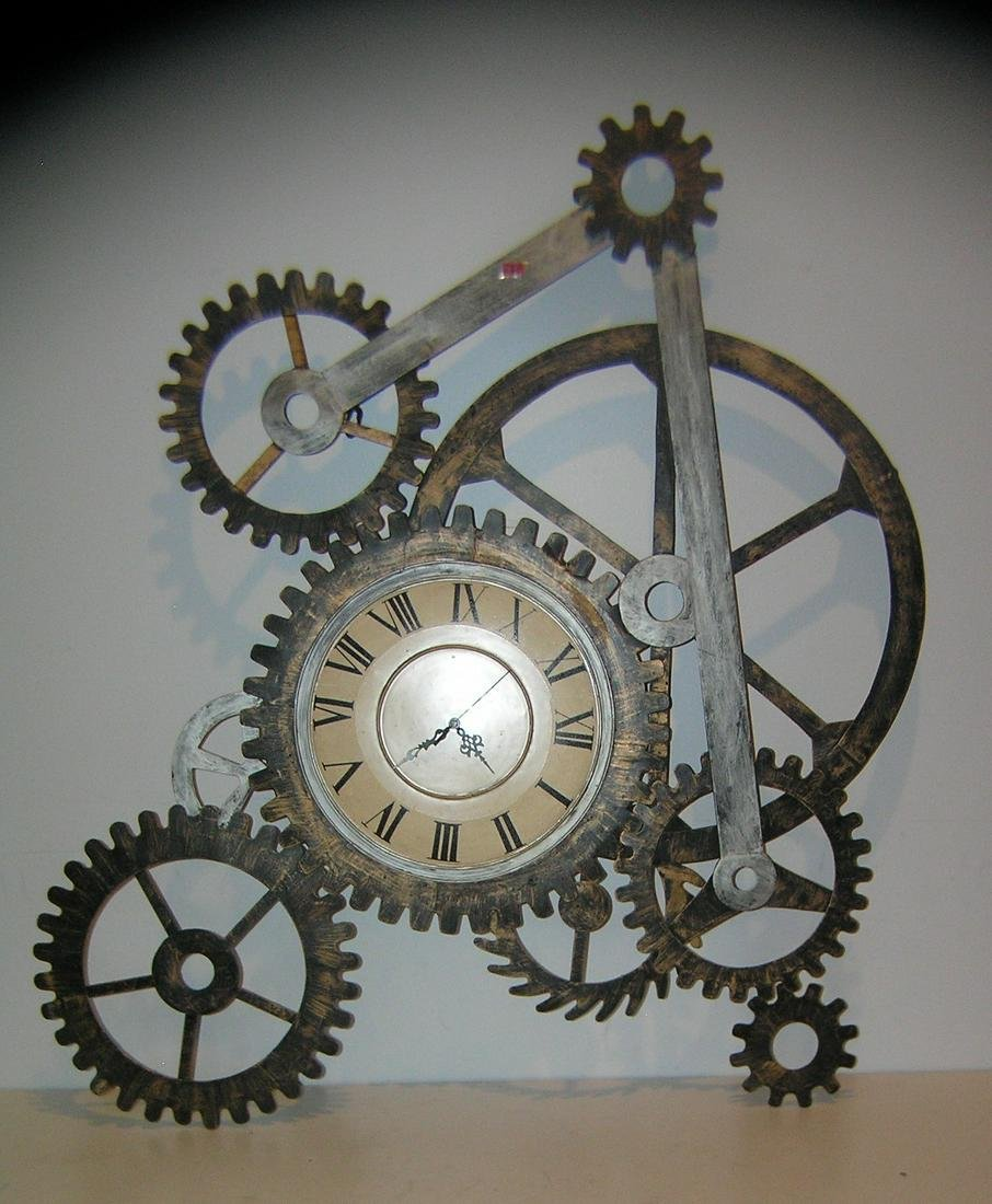 Clock with gear mechanism wall sculpture