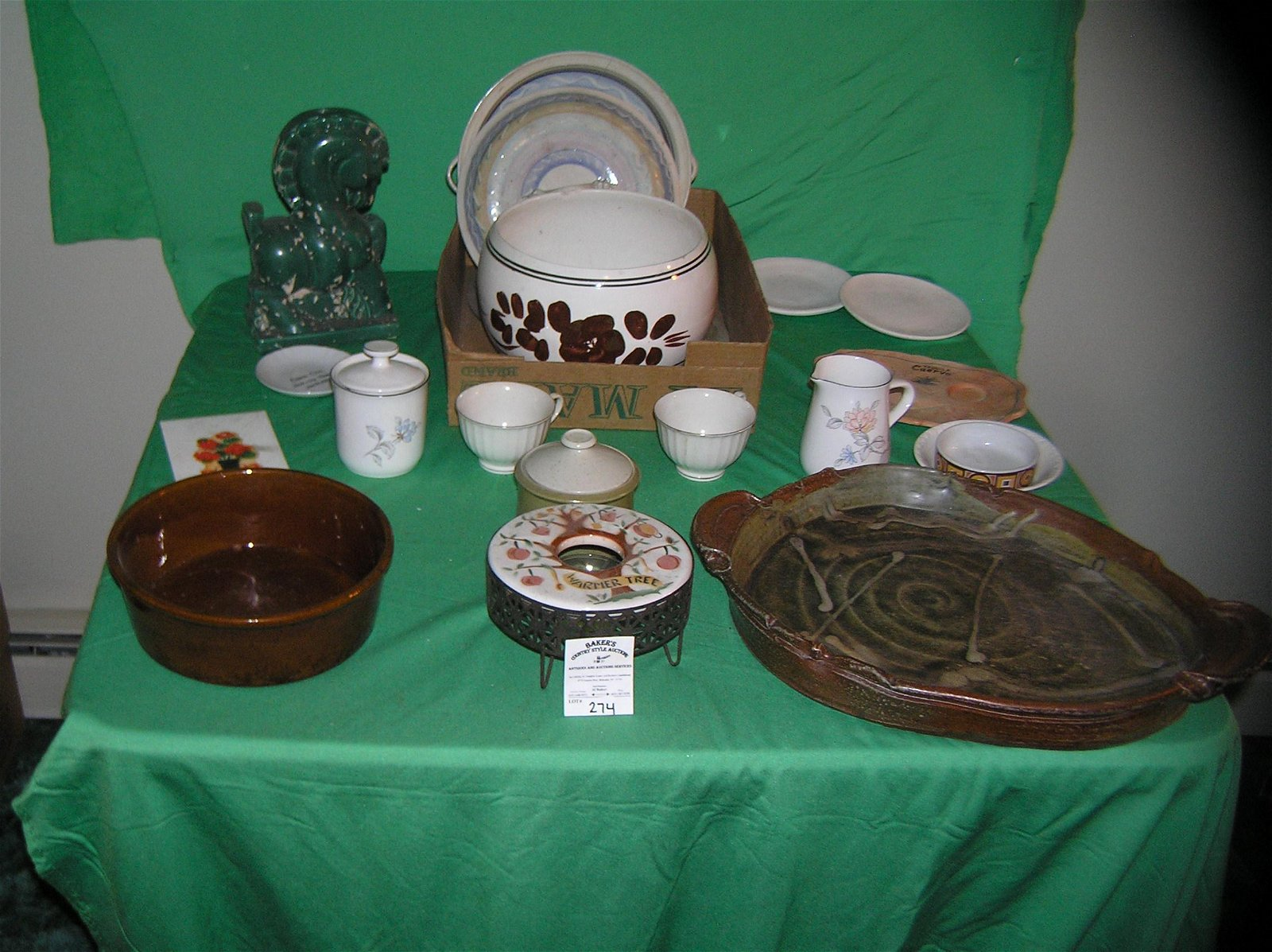 Box of estate porcelain, antique pottery and more