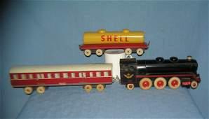 3 piece hand made wooden train set