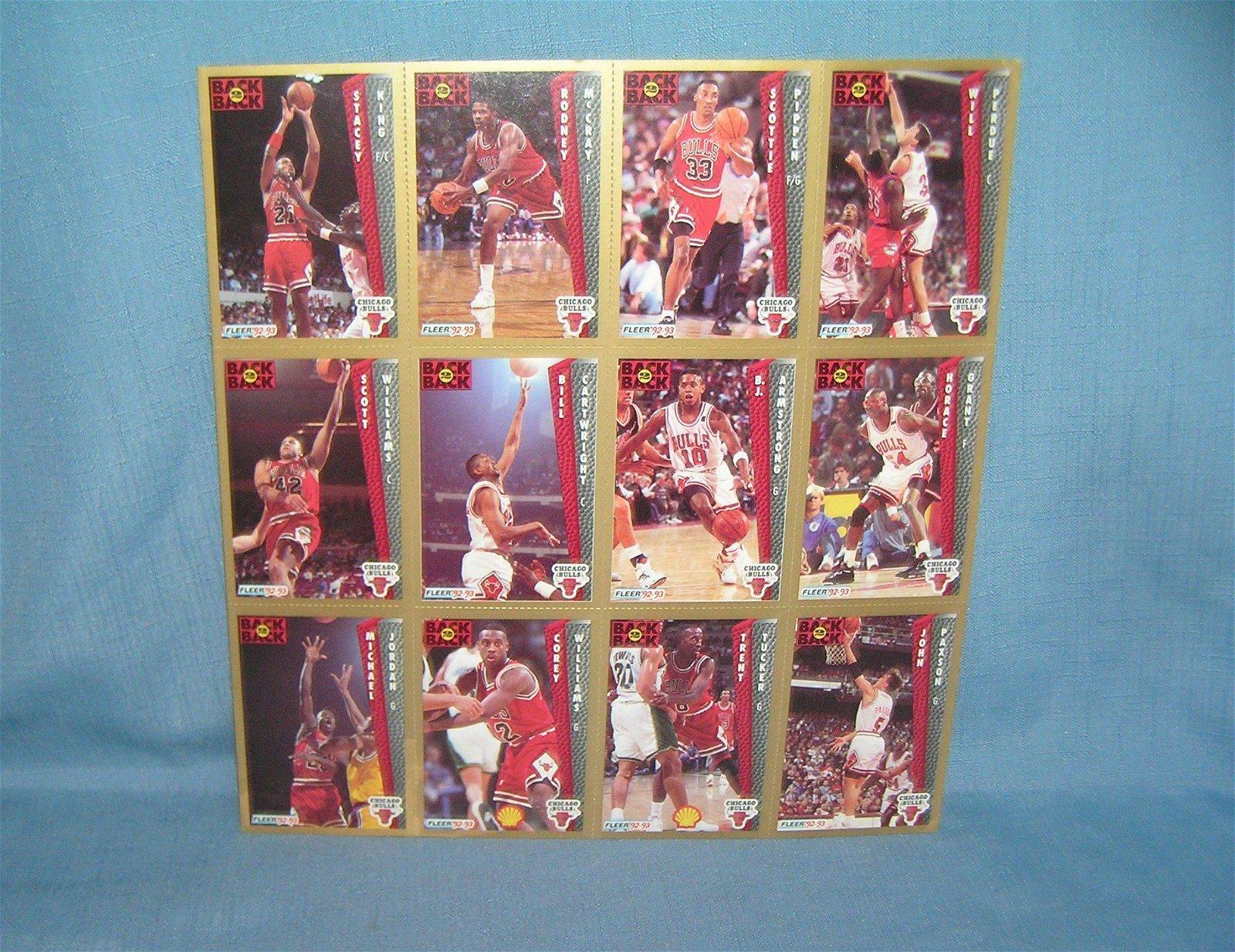 Vintage Chicago Bulls basketball cards uncut sheet