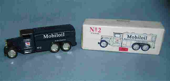 Mobile Oil all cast metal delivery truck bank