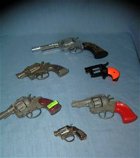 Collection of 6 all cast metal vintage cap guns