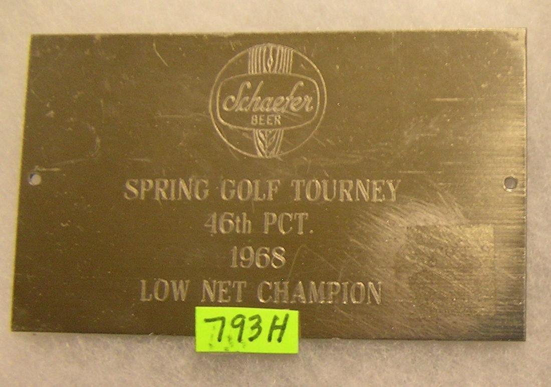 Vintage Schaefer Beer 1968 award plaque