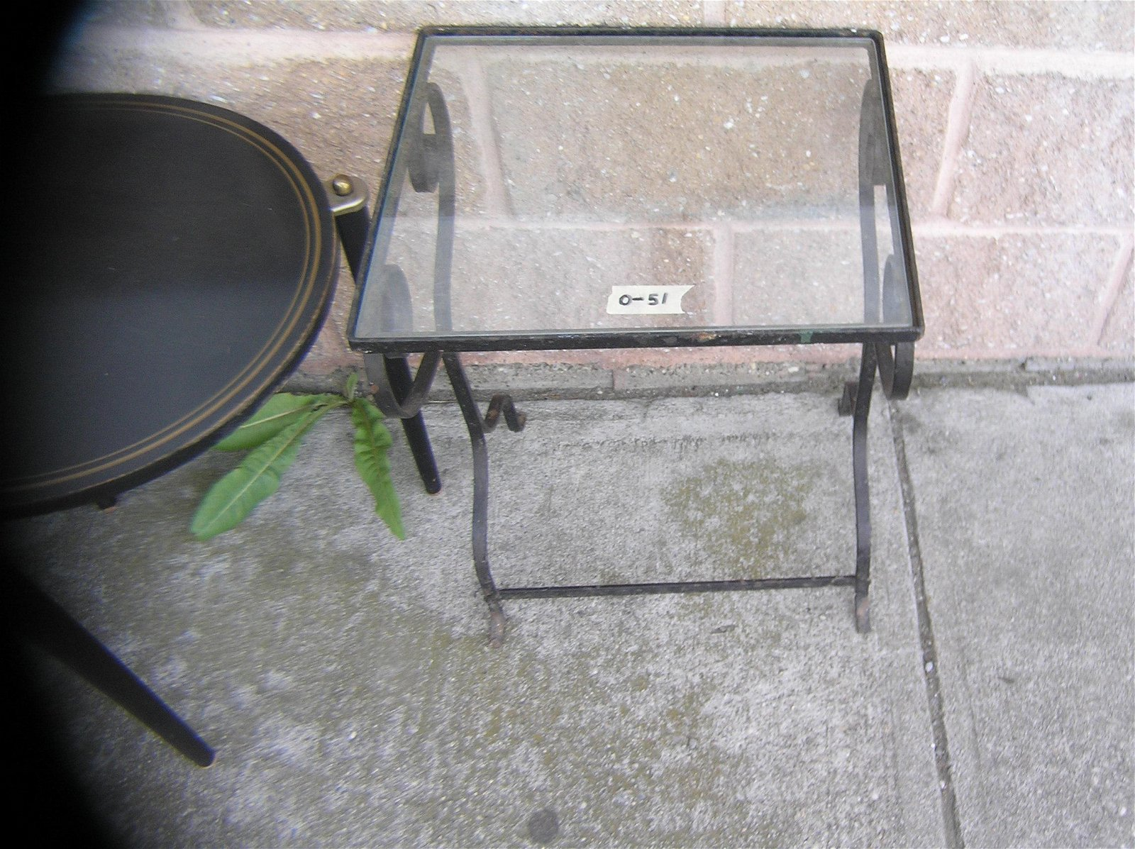 Wrought iron and glass side table
