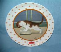 Vintage cat plate artist signed Herrero