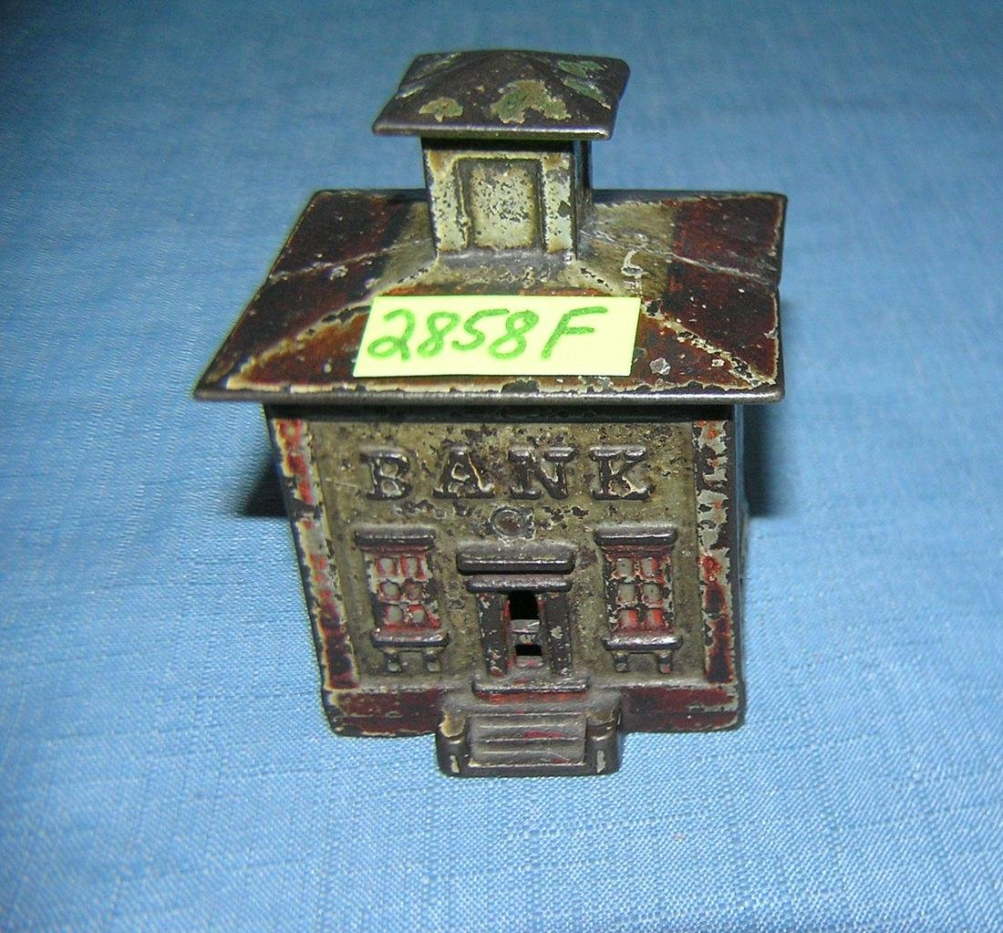 Antique hand painted Cast iron bank building