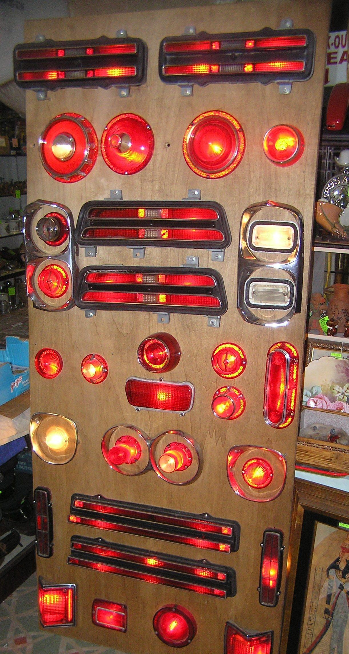 Vintage illuminated automotive light diorama display